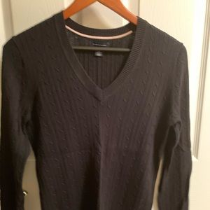 Black Tommy Hilfiger V-Neck Sweater